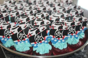 Red Velvet Mini cupcakes with pirate ships