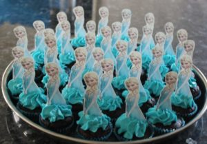 Mini chocolate cupcakes with elsa