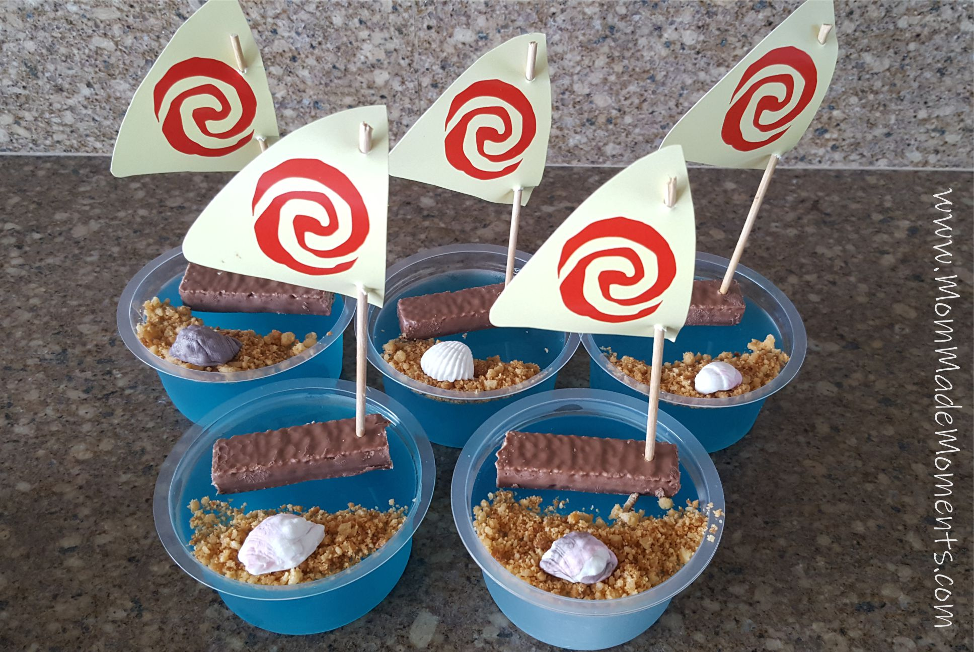 Moana Party Food Blue Jelly with boat and sand
