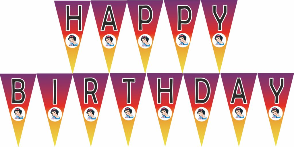 snow white happy birthday banner FREE template