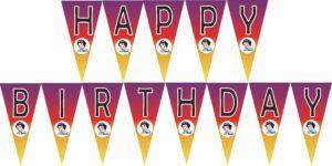snow white happy birthday banner FREE template