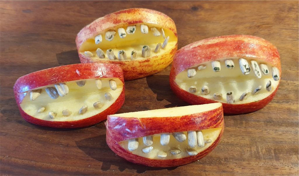 Apple Monster Mouths Healthy and Easy No Bake Halloween Food