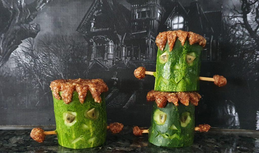 Frankenstein Cucumbers Healthy and Easy No Bake Halloween Treats