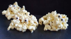 Popcorn Ghosts Healthy and Easy No Bake Halloween Food