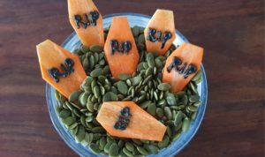 RIP carrot gravestones Healthy and Easy No Bake Halloween Food