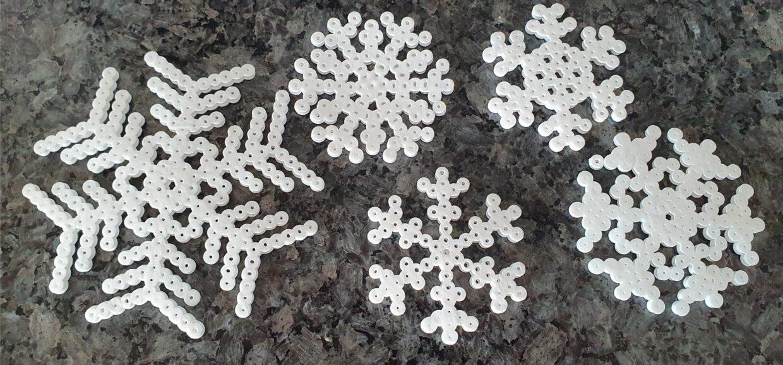 Hama perler beads snowflakes MomMadeMoments2