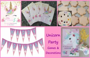 Unicorn Party Games and decorations