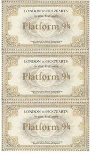 Harry Potter Invitation Letter Platform 9 3-4 ticket