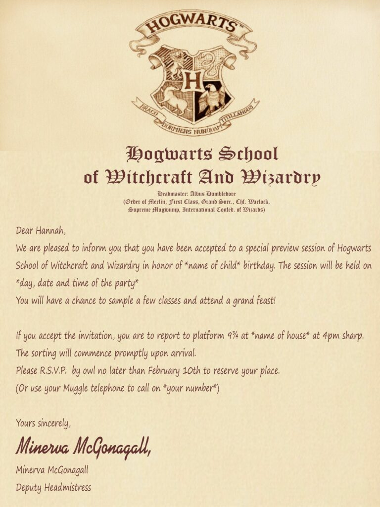 The ultimate Harry Potter Party Invitation what to write in the invitation