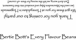 Bertie Botts Every Flavour beans return label