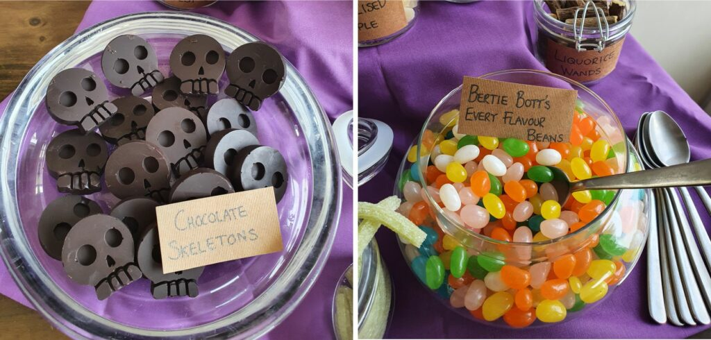 Harry Potter Party Themed Party Food. Chocolate Skeletons and Bertie Botts Every Flavour Beans